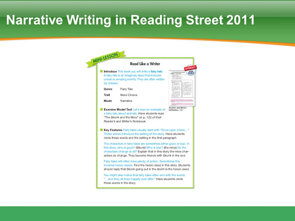 Narrative Writing in Reading Street 2011
