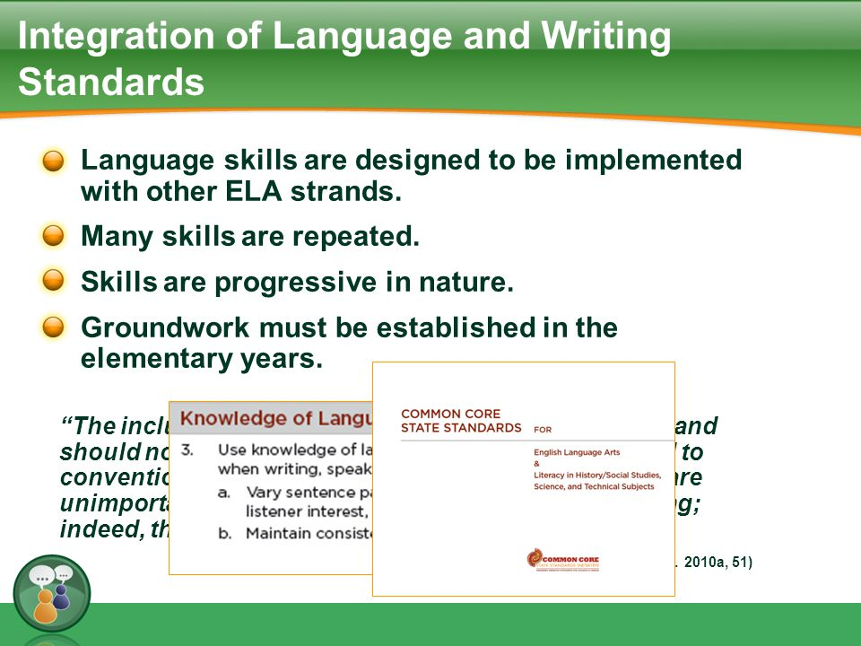 Integration of Language and Writing Standards