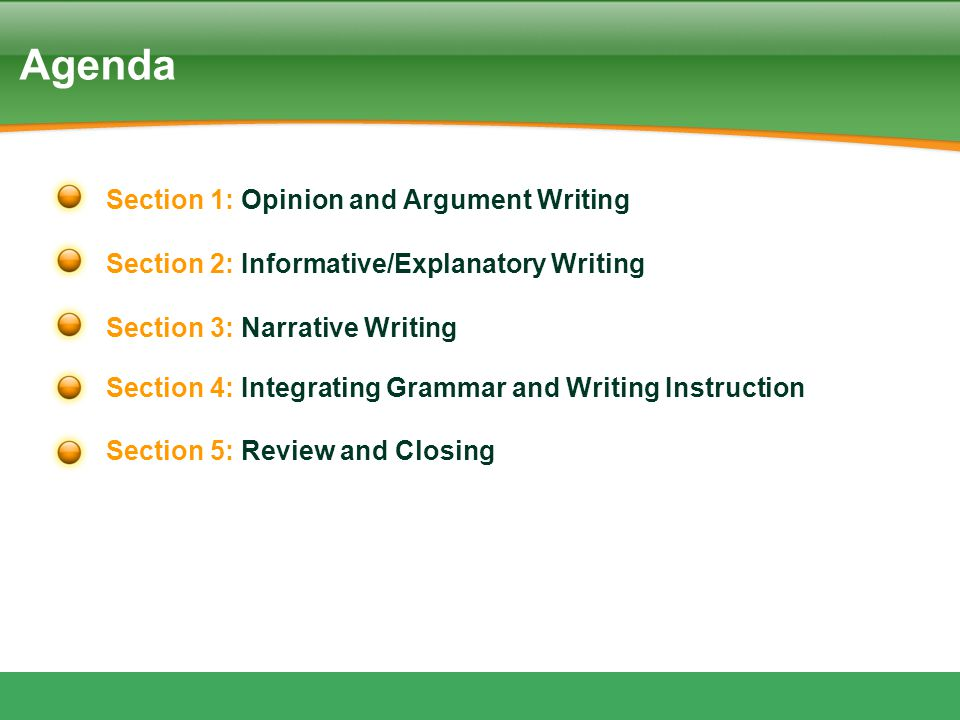 Agenda Section 1: Opinion and Argument Writing