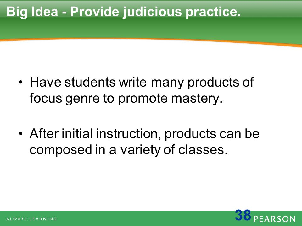 Big Idea - Provide judicious practice.