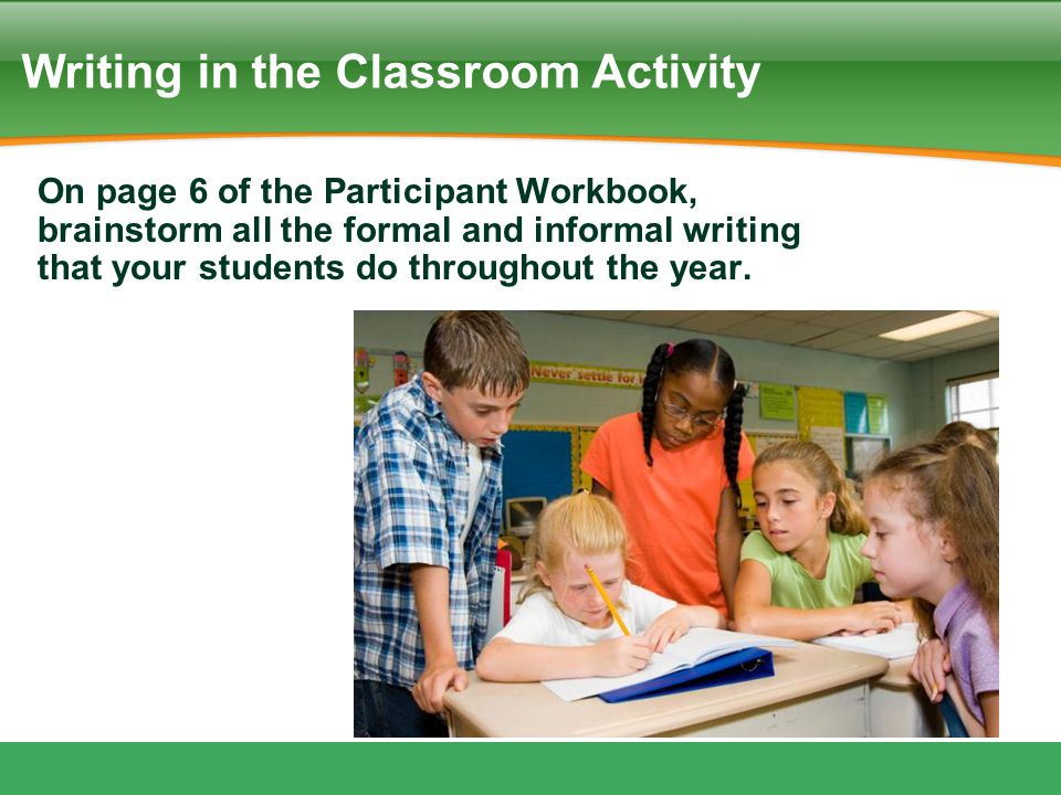 Writing in the Classroom Activity