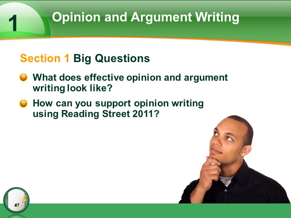 Opinion and Argument Writing
