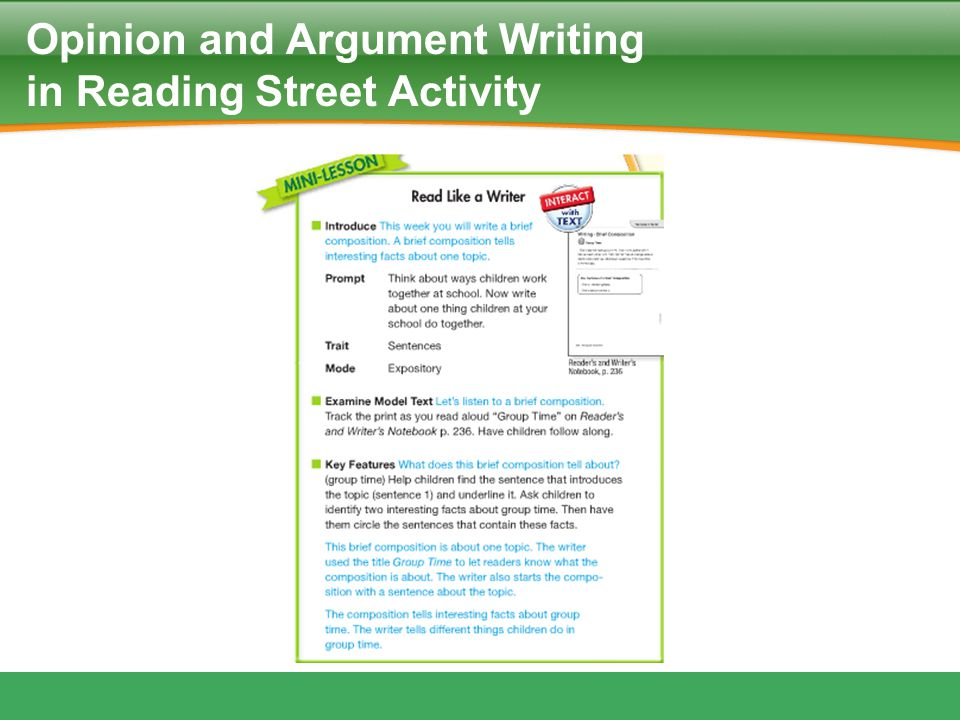Opinion and Argument Writing in Reading Street Activity