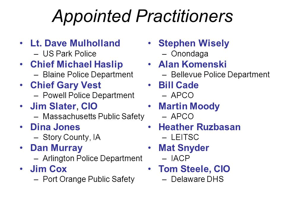 Appointed Practitioners