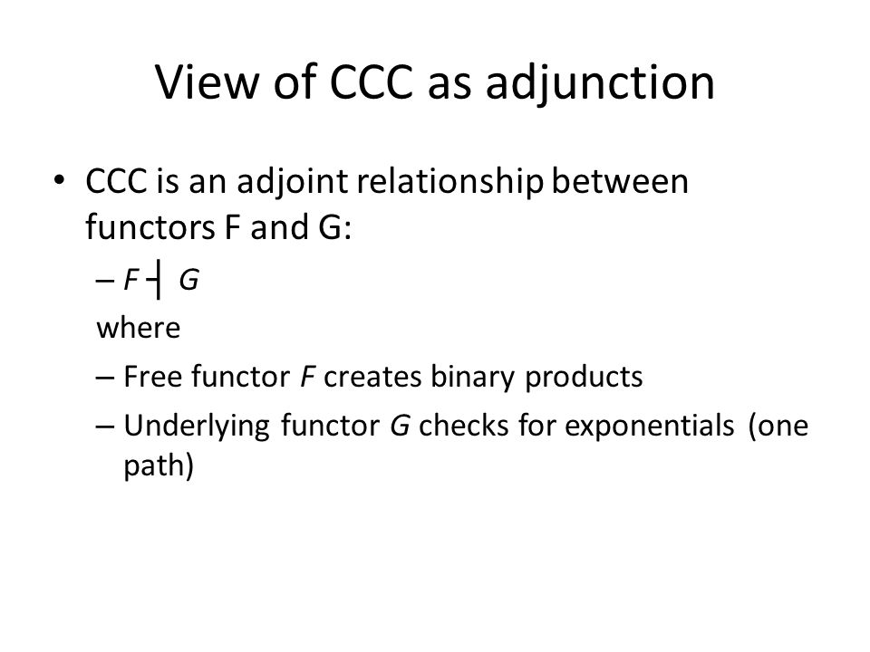 View of CCC as adjunction