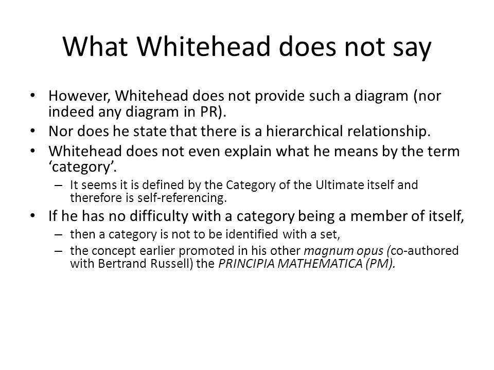 What Whitehead does not say