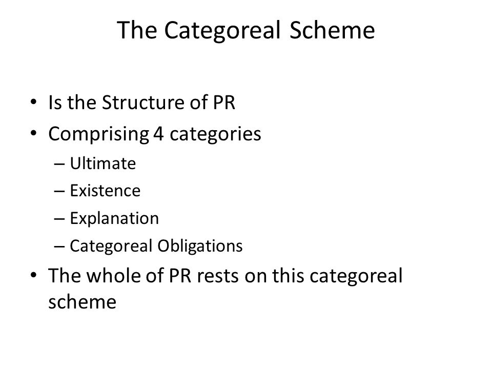 The Categoreal Scheme Is the Structure of PR Comprising 4 categories