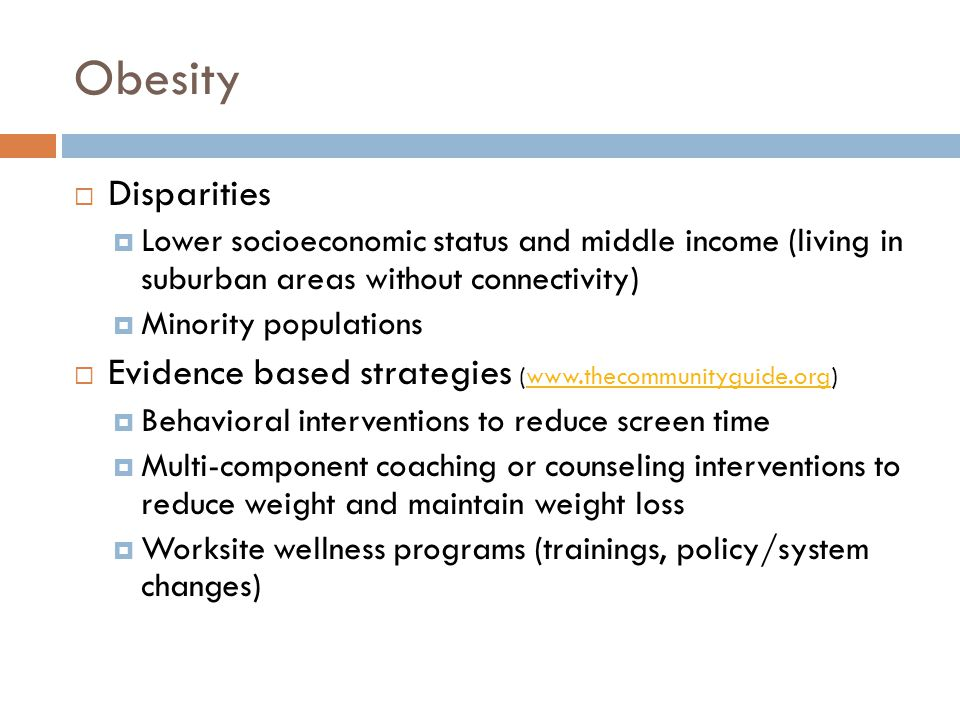 Obesity Disparities. Lower socioeconomic status and middle income (living in suburban areas without connectivity)