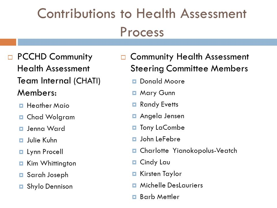 Contributions to Health Assessment Process