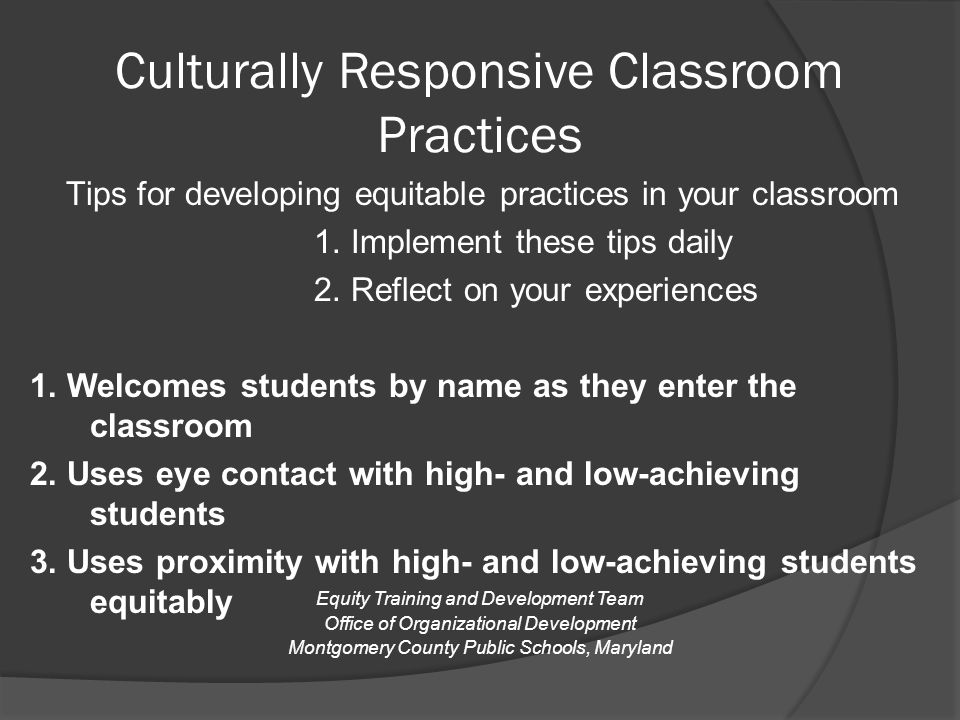 Culturally Responsive Classroom Practices