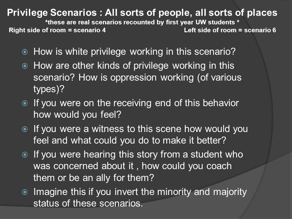 Privilege Scenarios : All sorts of people, all sorts of places