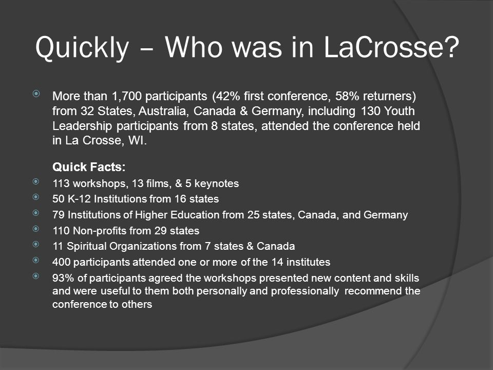 Quickly – Who was in LaCrosse