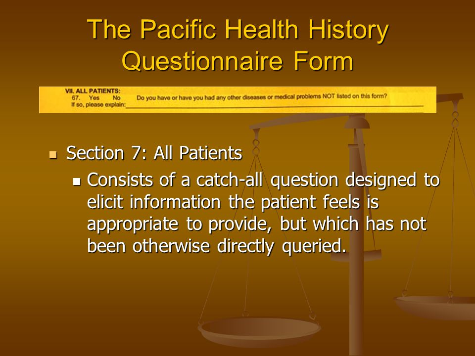 The Pacific Health History Questionnaire Form