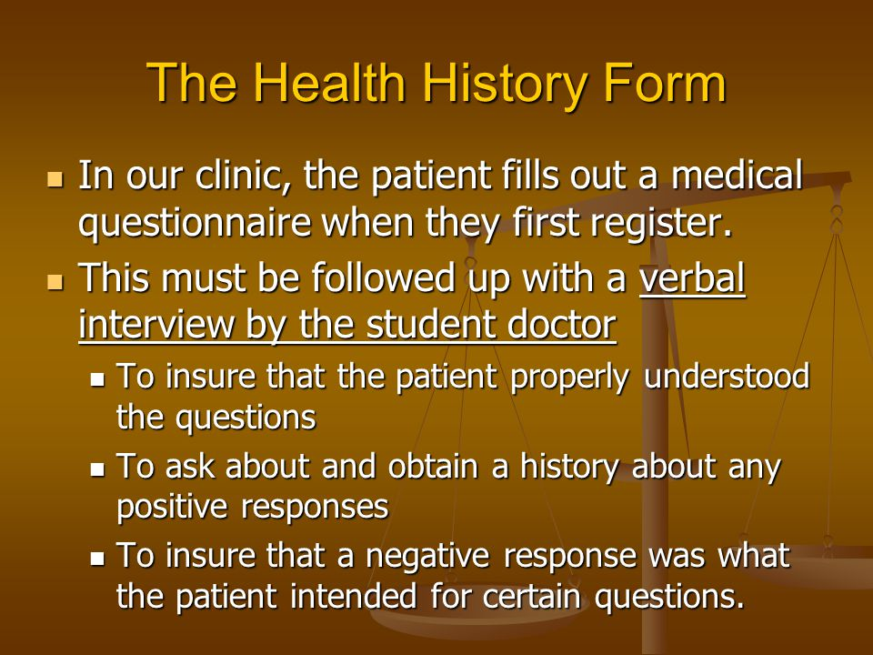 The Health History Form