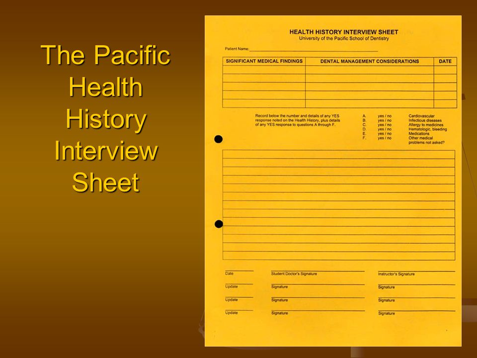 The Pacific Health History Interview Sheet