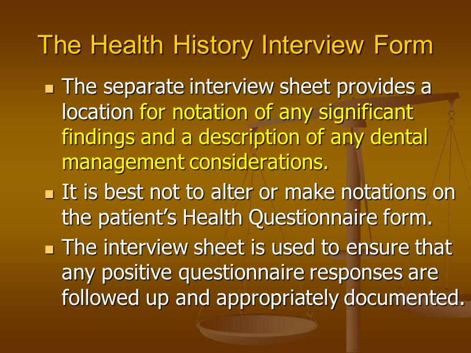 The Health History Interview Form
