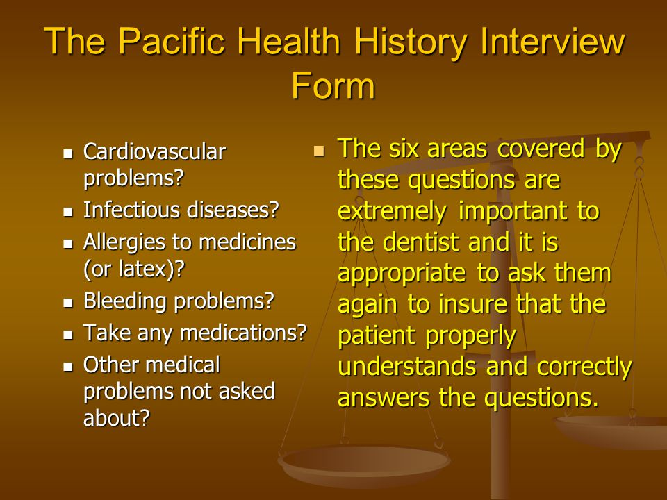 The Pacific Health History Interview Form