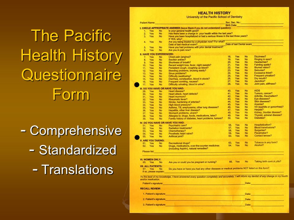 The Pacific Health History Questionnaire Form - Comprehensive - Standardized - Translations
