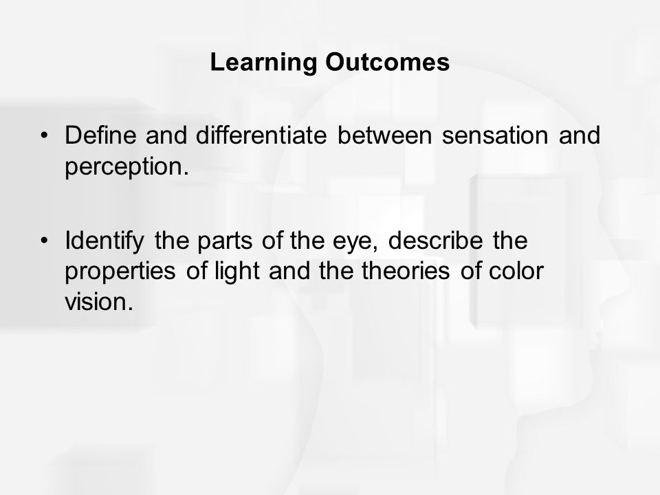 Learning Outcomes Define and differentiate between sensation and perception.