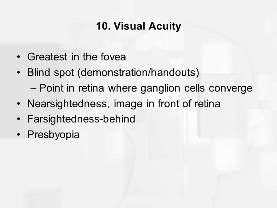 Blind spot (demonstration/handouts)