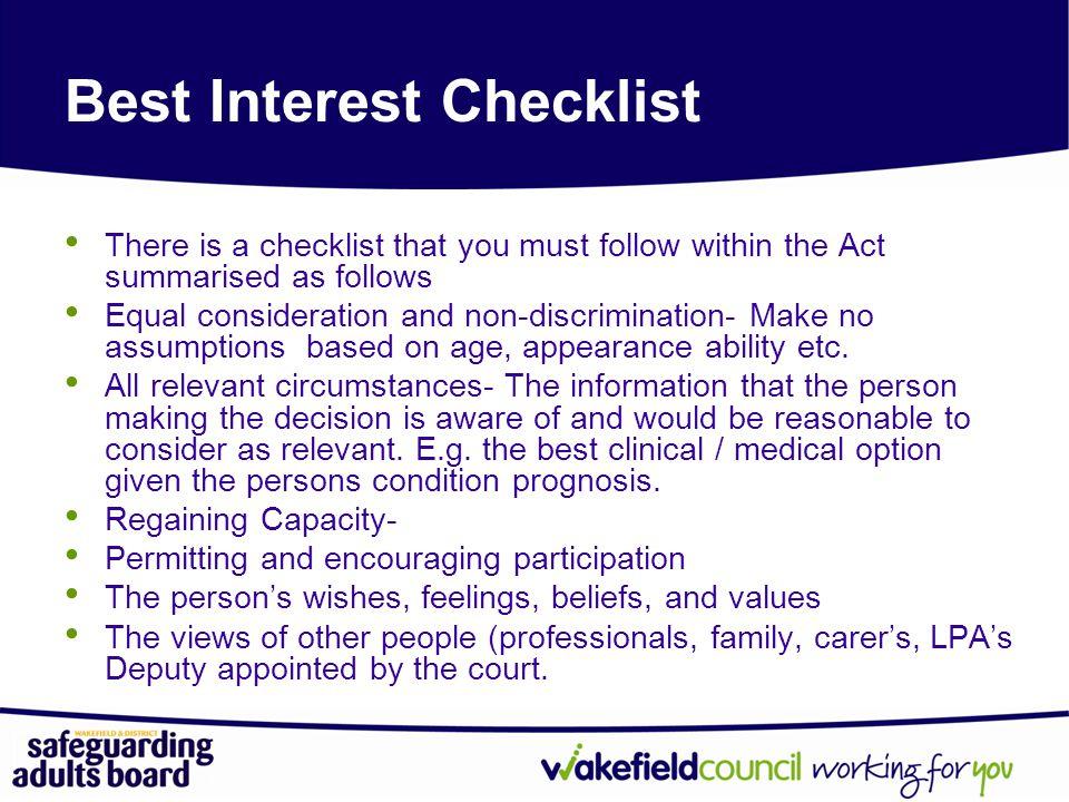 Best Interest Checklist