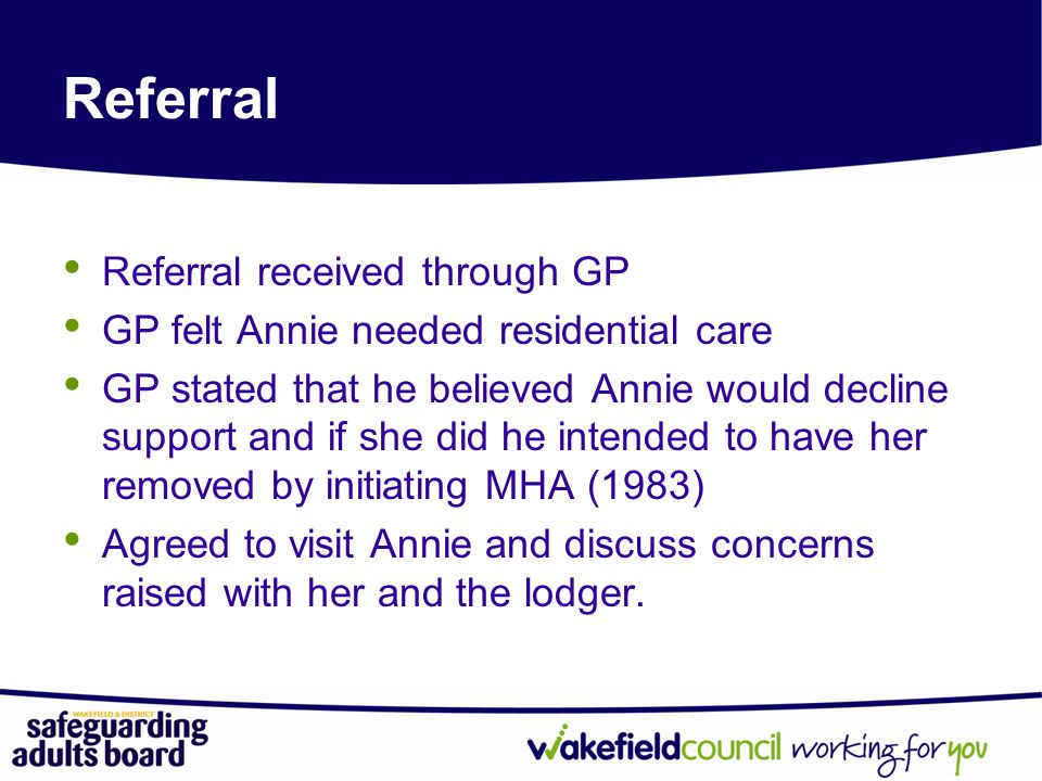 Referral Referral received through GP