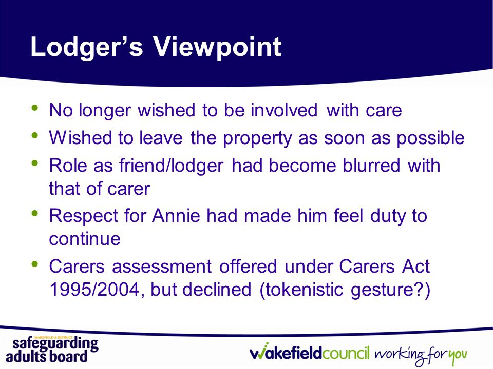 Lodger's Viewpoint No longer wished to be involved with care