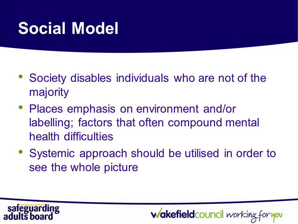 Social Model Society disables individuals who are not of the majority