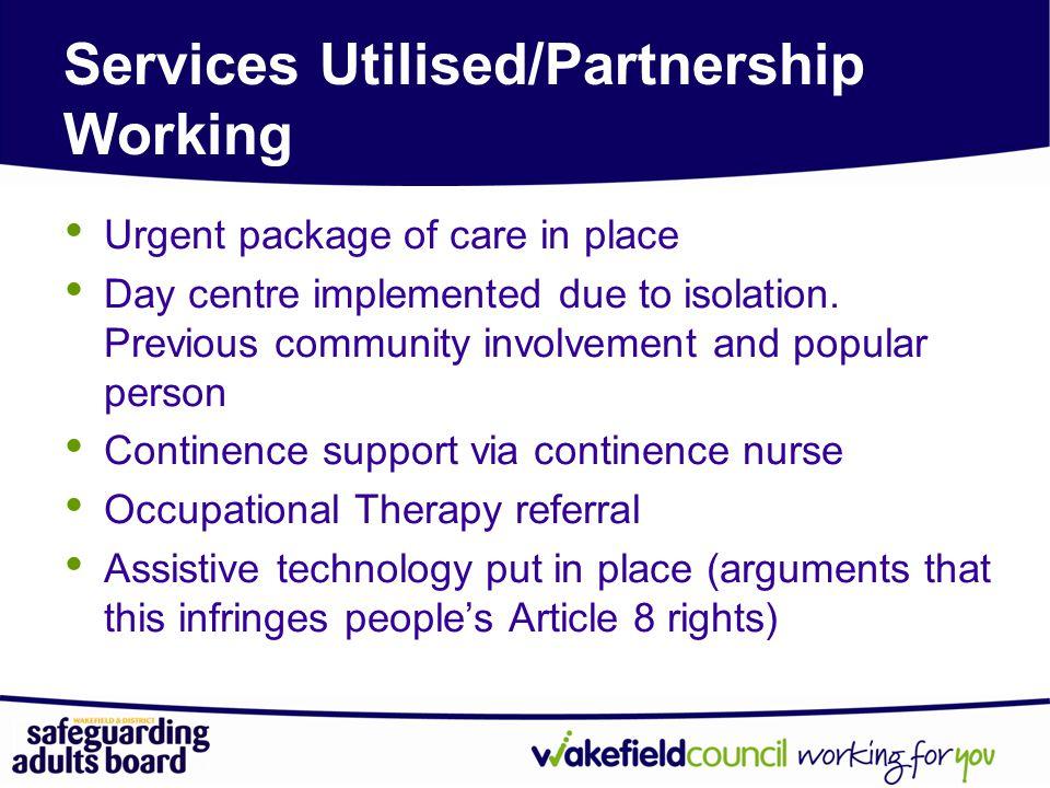 Services Utilised/Partnership Working
