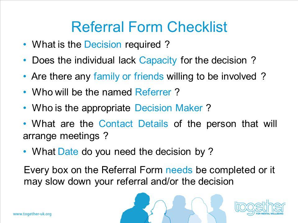 Referral Form Checklist