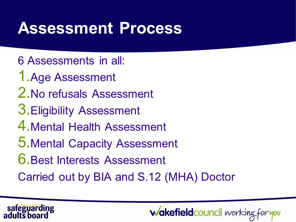 Assessment Process 6 Assessments in all: Age Assessment