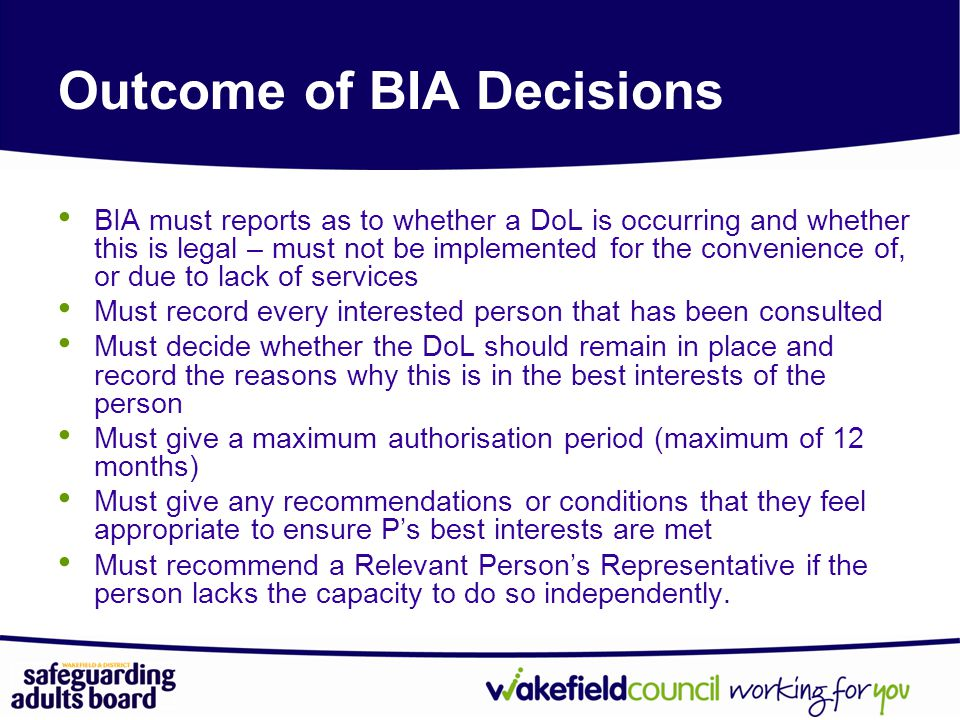 Outcome of BIA Decisions