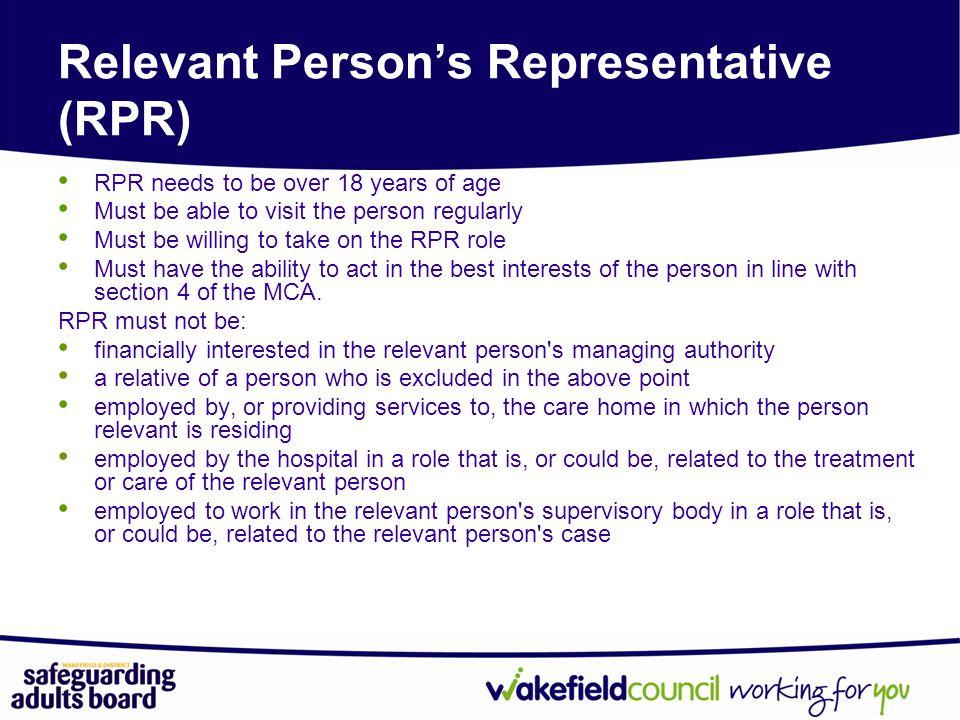 Relevant Person's Representative (RPR)