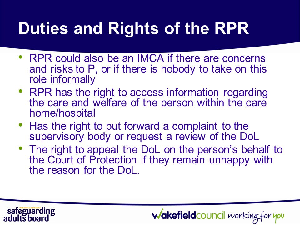 Duties and Rights of the RPR