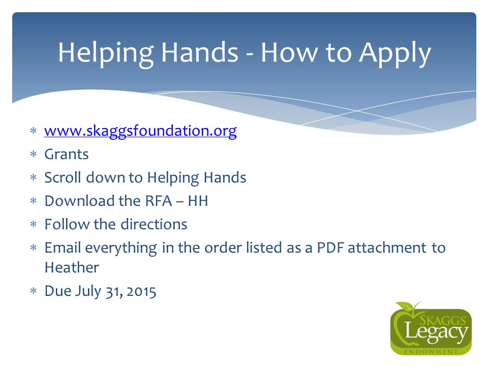 Helping Hands - How to Apply