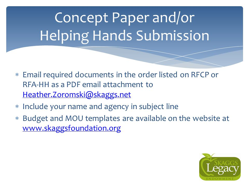 Concept Paper and/or Helping Hands Submission