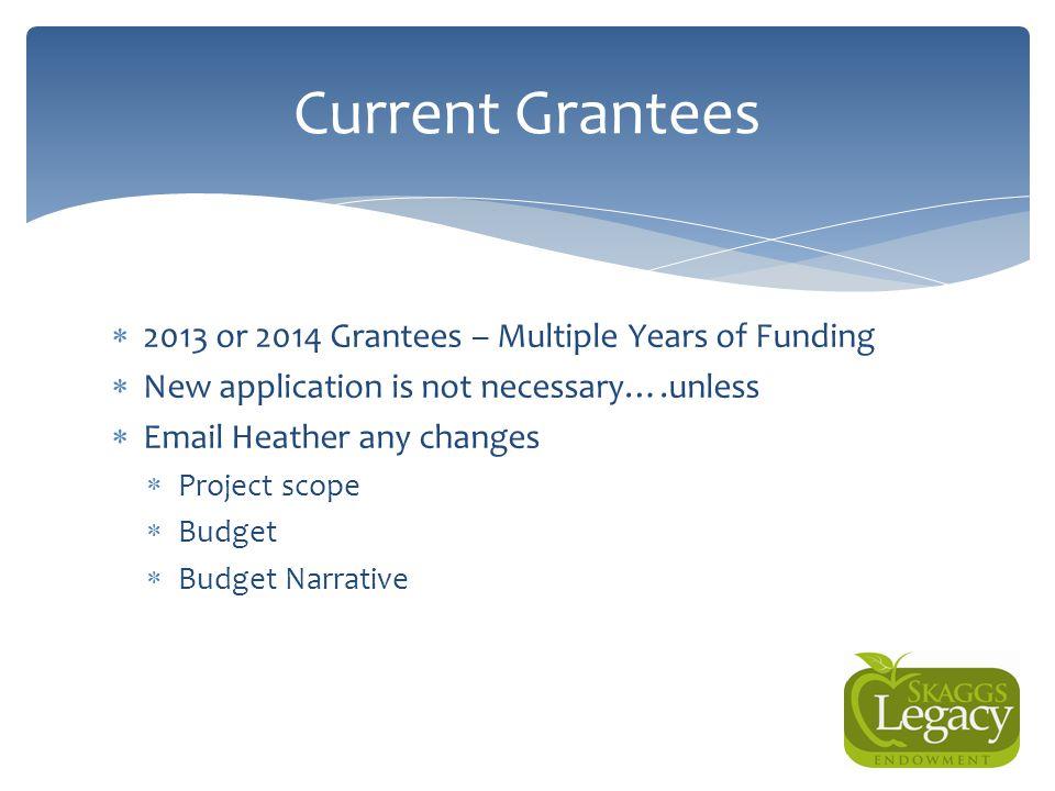 Current Grantees 2013 or 2014 Grantees – Multiple Years of Funding