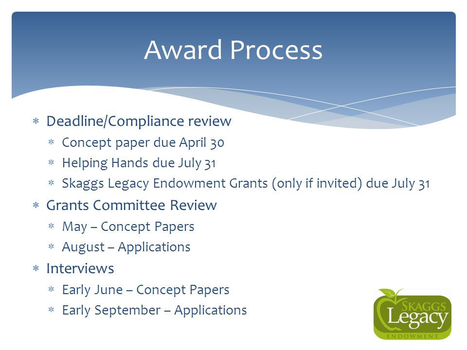 Award Process Deadline/Compliance review Grants Committee Review