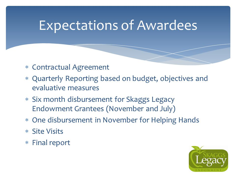 Expectations of Awardees