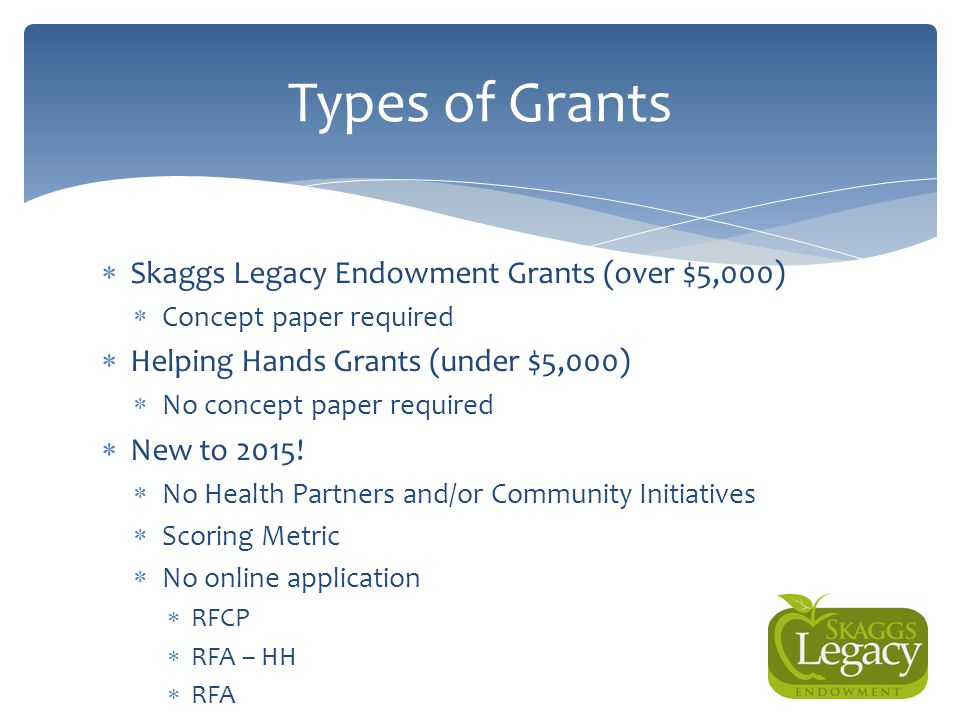 Types of Grants Skaggs Legacy Endowment Grants (over $5,000)
