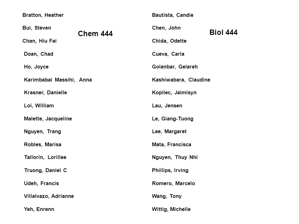 Biol 444 Chem 444 Bratton, Heather Bui, Steven Chan, Hiu Fai