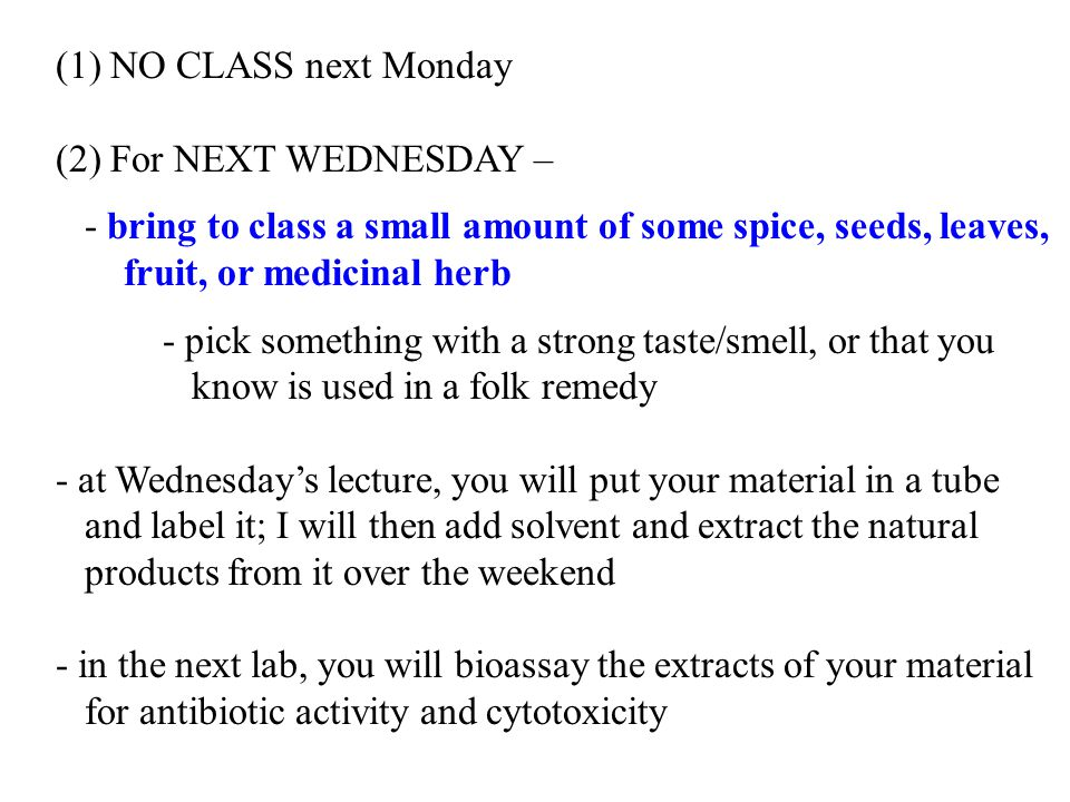 (1) NO CLASS next Monday (2) For NEXT WEDNESDAY – - bring to class a small amount of some spice, seeds, leaves,