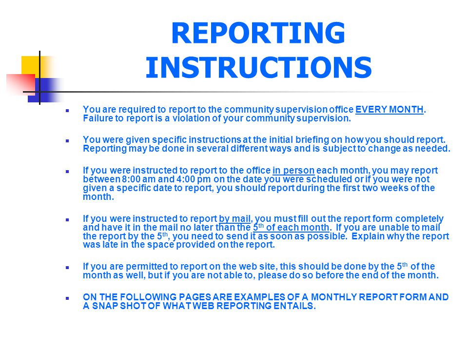 REPORTING INSTRUCTIONS