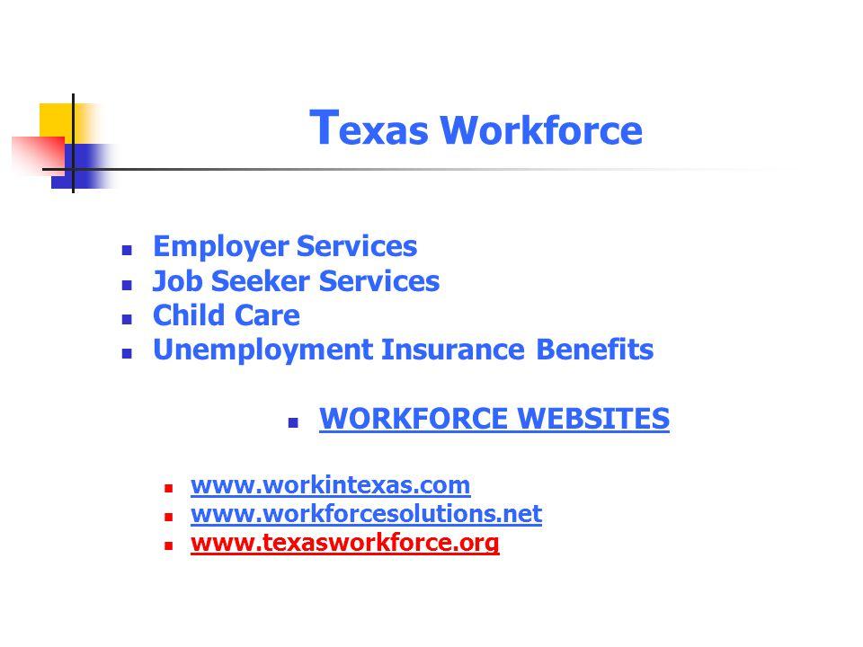 Texas Workforce Employer Services Job Seeker Services Child Care