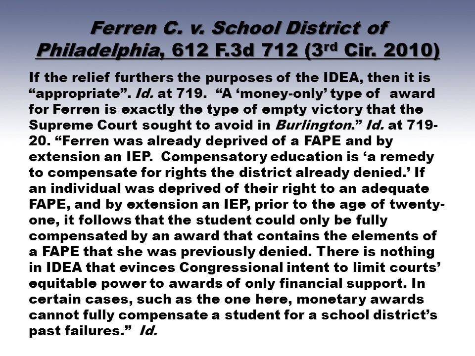 Ferren C. v. School District of Philadelphia, 612 F. 3d 712 (3rd Cir