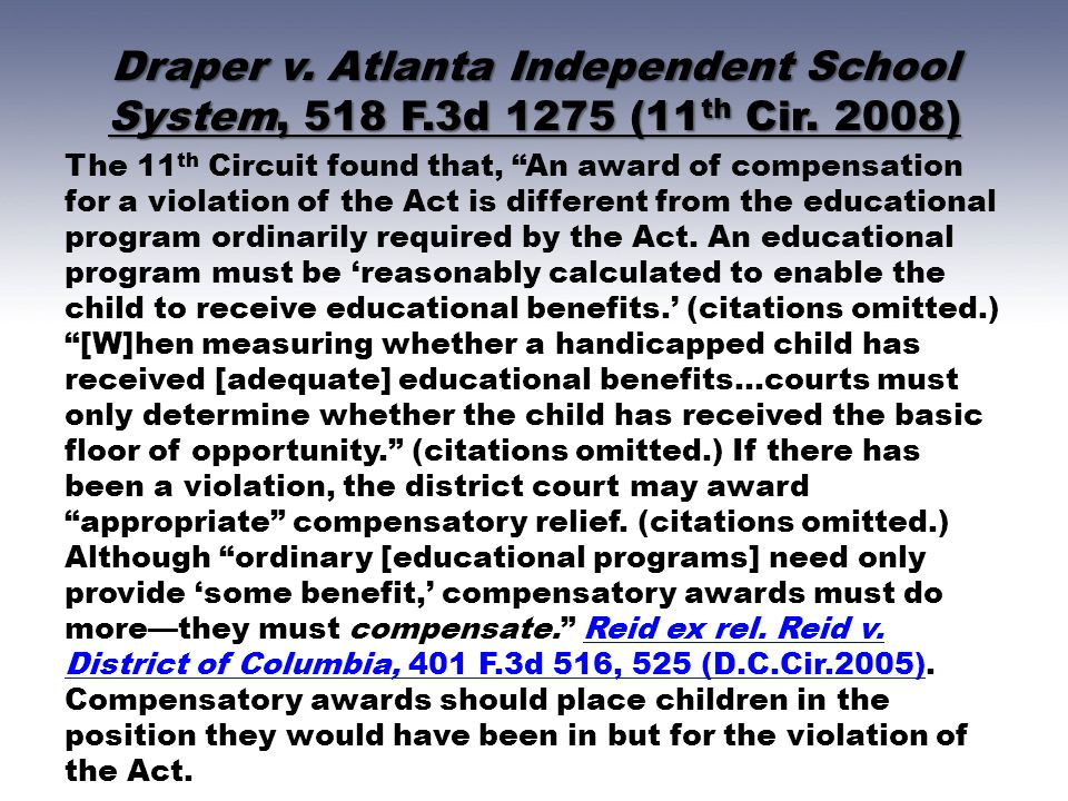 Draper v. Atlanta Independent School System, 518 F. 3d 1275 (11th Cir