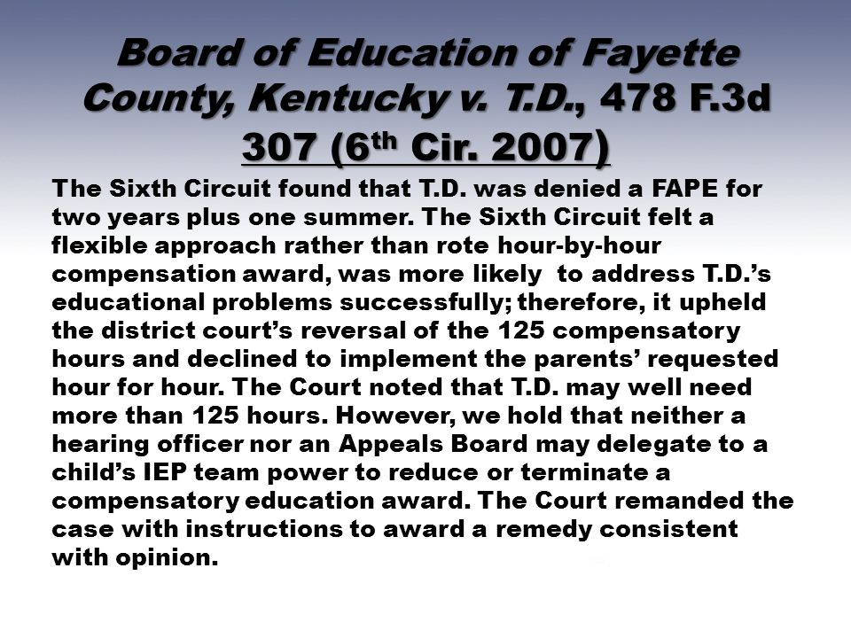 Board of Education of Fayette County, Kentucky v. T. D. , 478 F