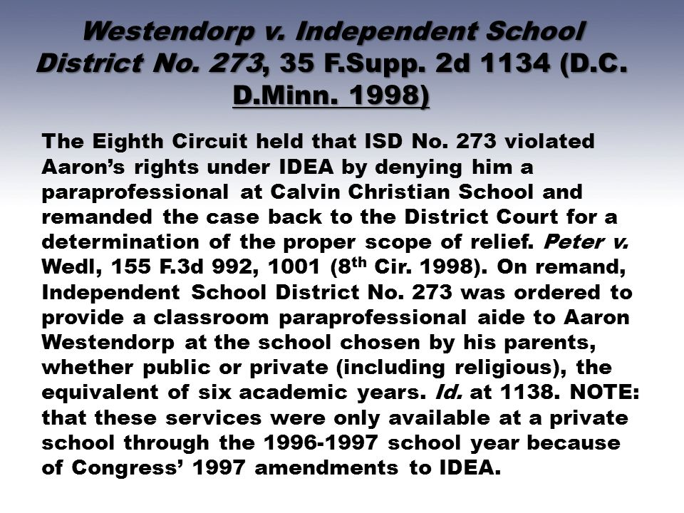 Westendorp v. Independent School District No. 273, 35 F. Supp