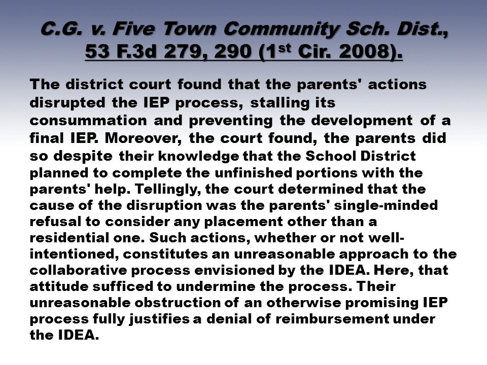 C. G. v. Five Town Community Sch. Dist. , 53 F. 3d 279, 290 (1st Cir