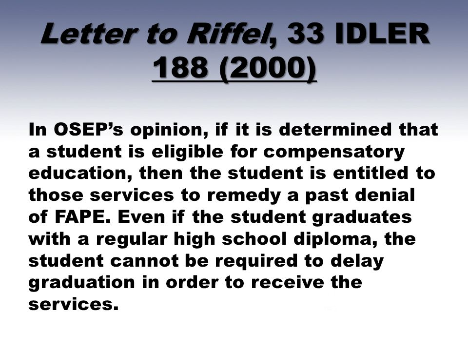 Letter to Riffel, 33 IDLER 188 (2000)